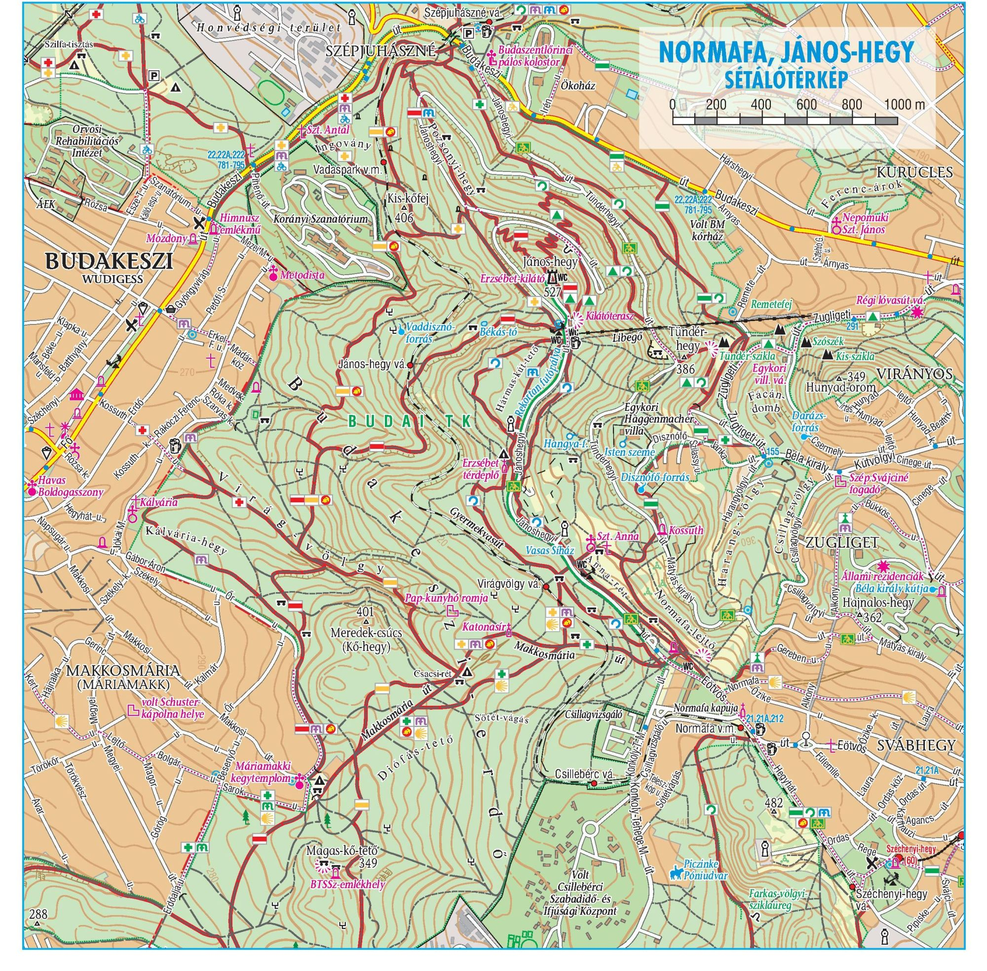 Budai-hg: Normafa-Jánoshegy sétálótérkép