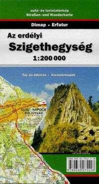 Erdély nyugati részének részletes térképe autós és turista információkkal, magyar nyelvű túraleírásokkal