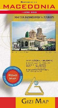 Részletes autótérkép domborzatárnyékolással, névjegyzékkel, Szkopje melléktérképpel (1:22.000)