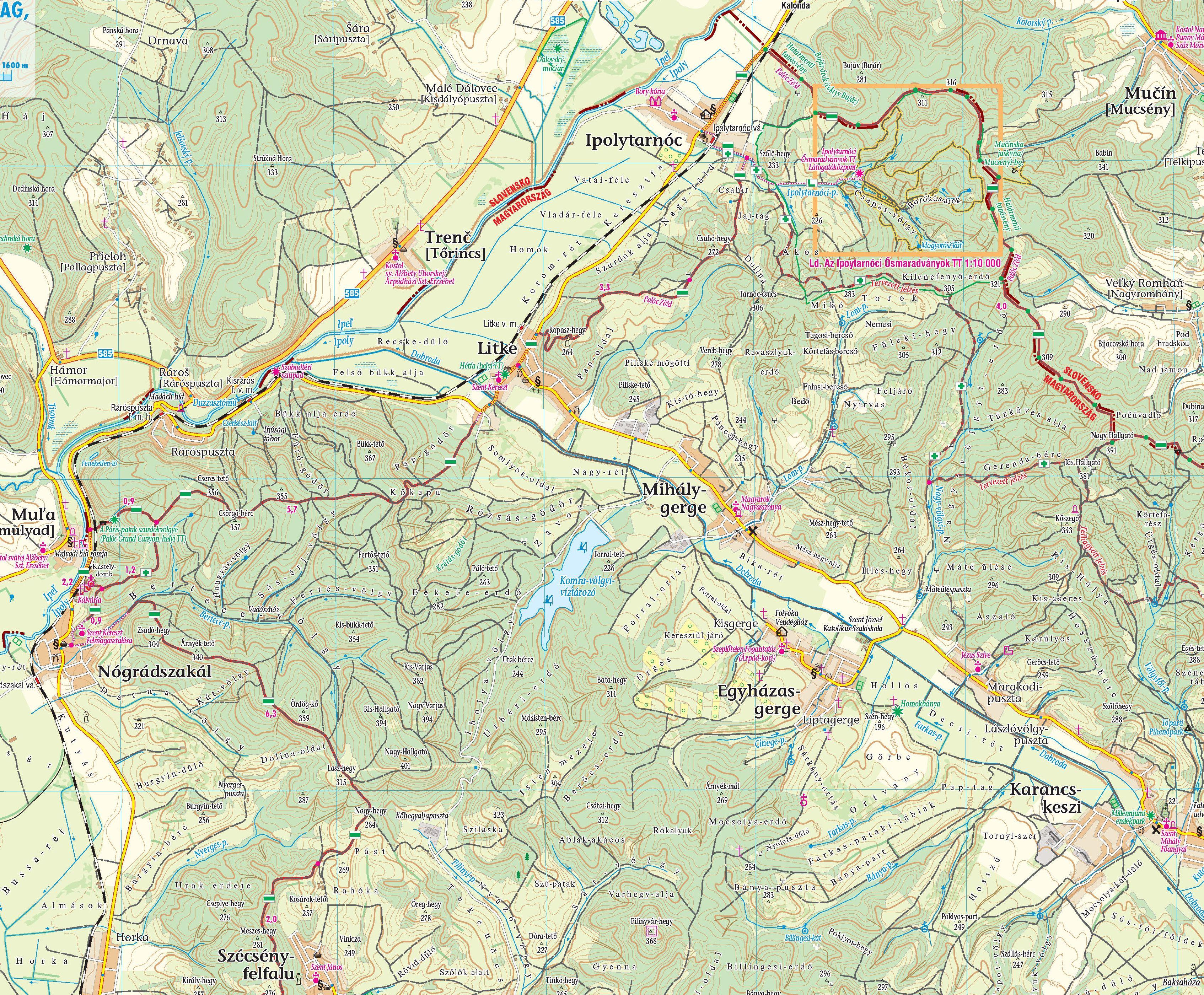 Cserhát: Ipolytarnóc környéke 1:50.000 mintakivágat