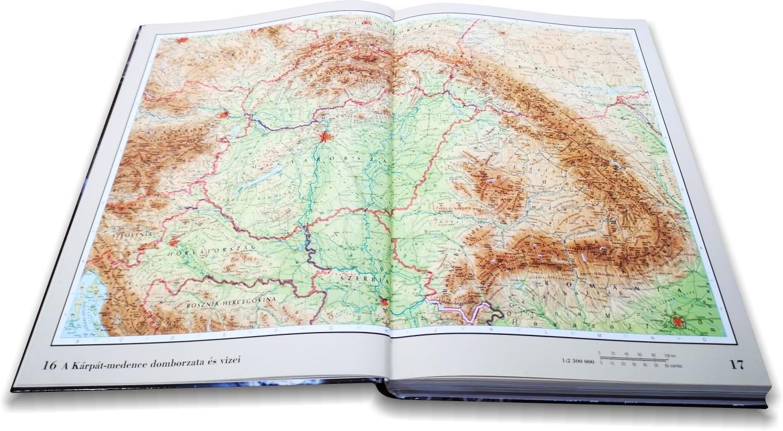 Nagy világatlasz a Kárpát-medence hegy-vízrajza térképe