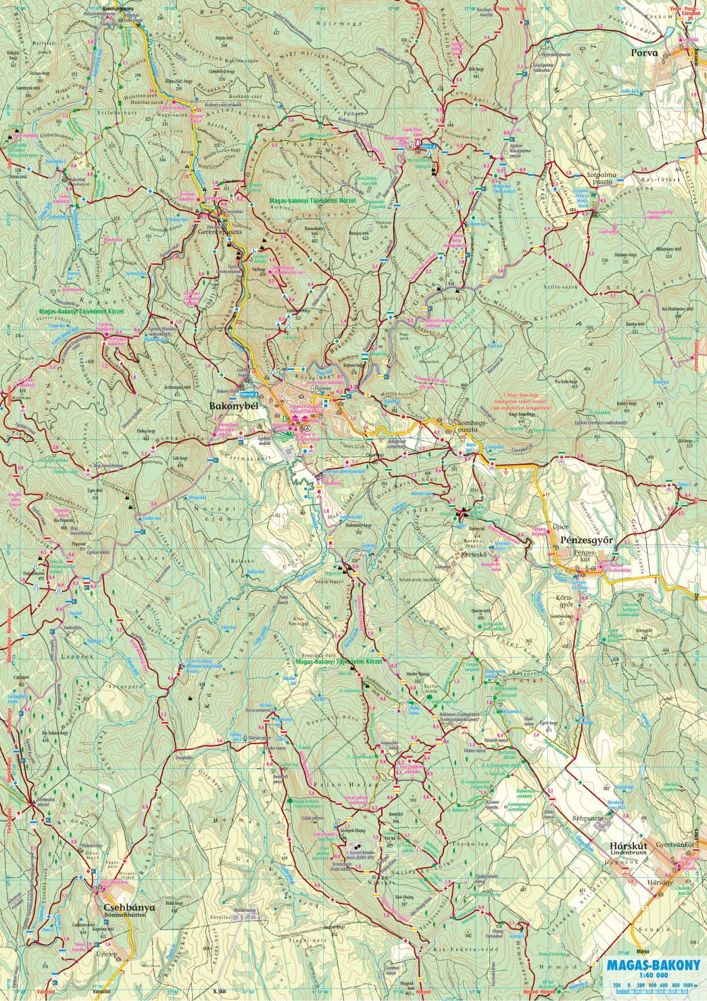 A Magas-Bakony 1:40.000 térkép által lefedett terület