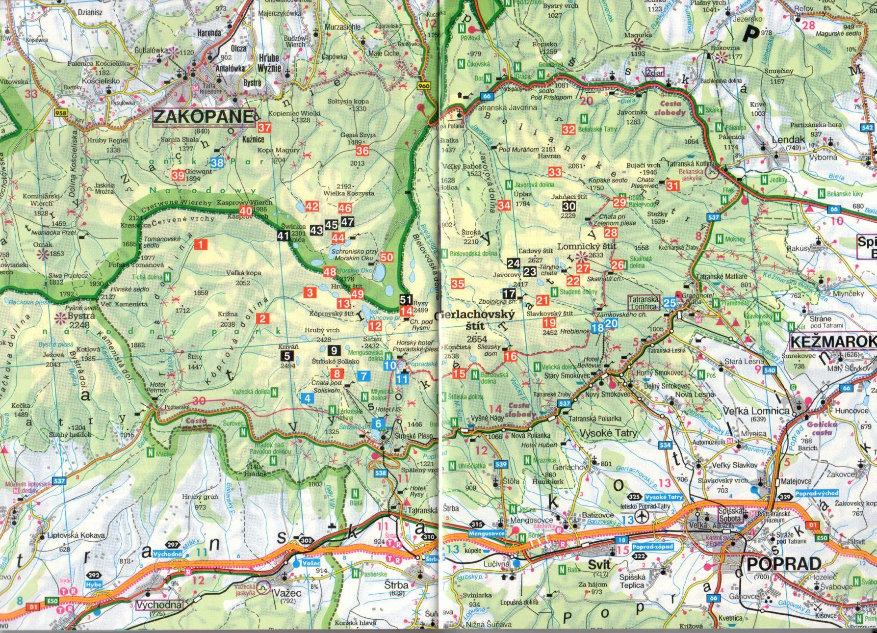 Rother-Magas-Tátra áttekintő térkép