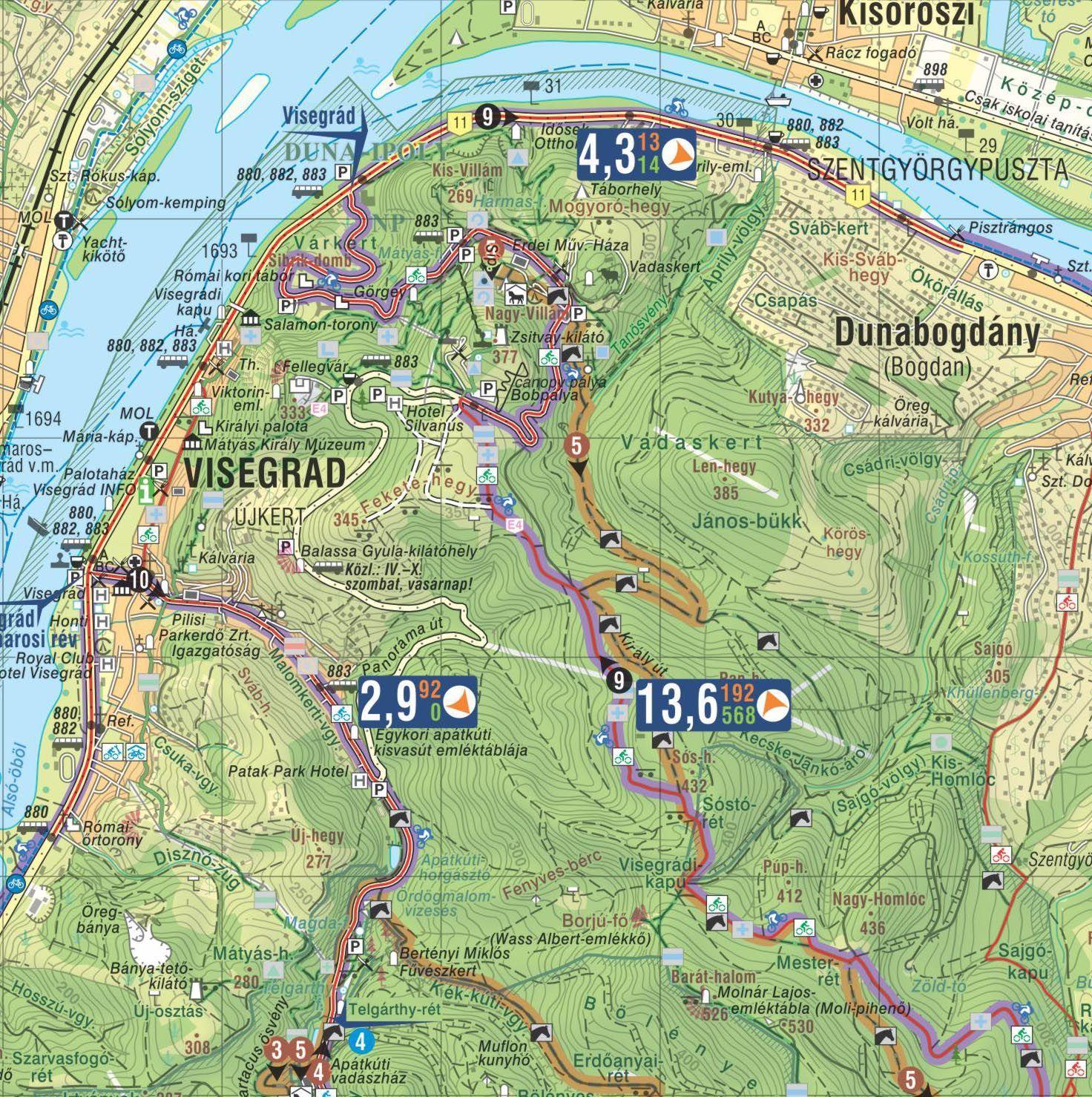 Pilis outdoor térkép biciklis térkép mintakivágat