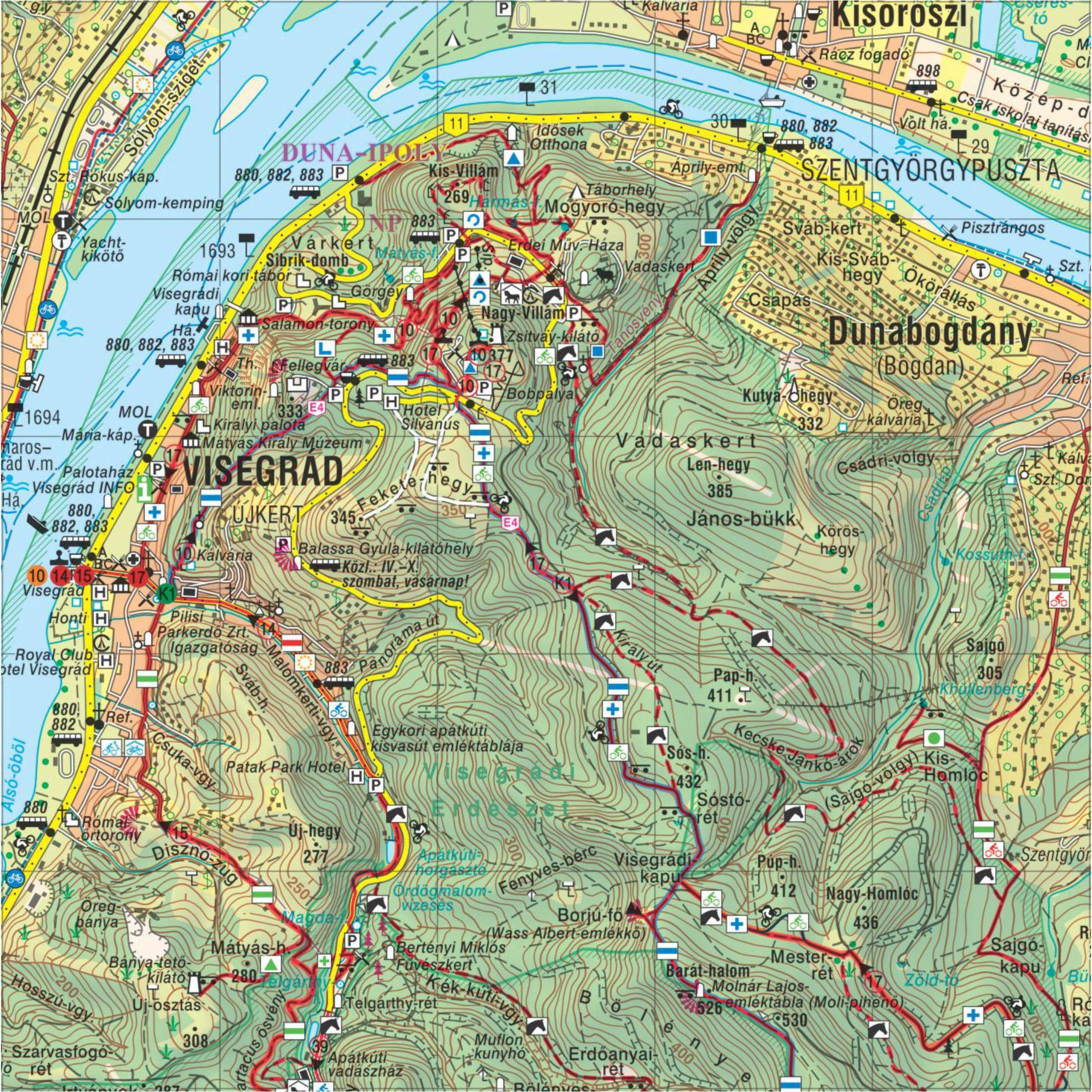 Pilis outdoor térkép turistatérkép mintakivágat