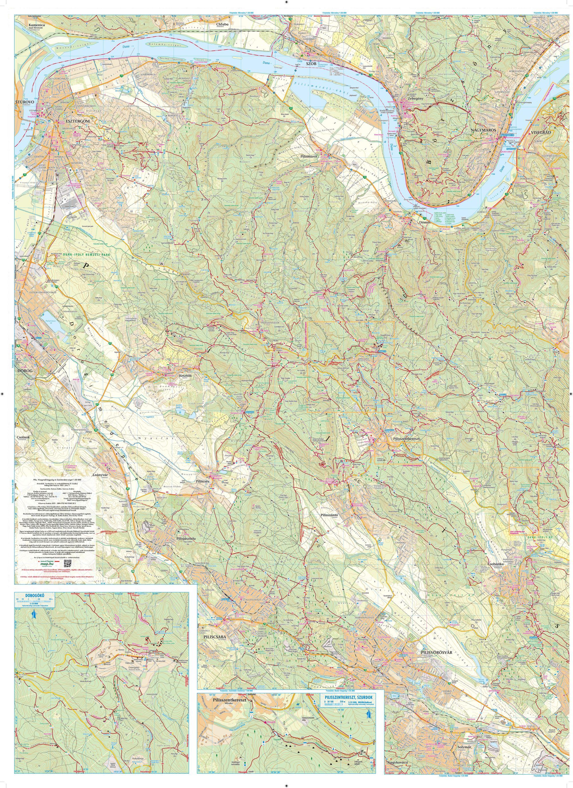 A Pilis térkép nyugati része által lefedett terület
