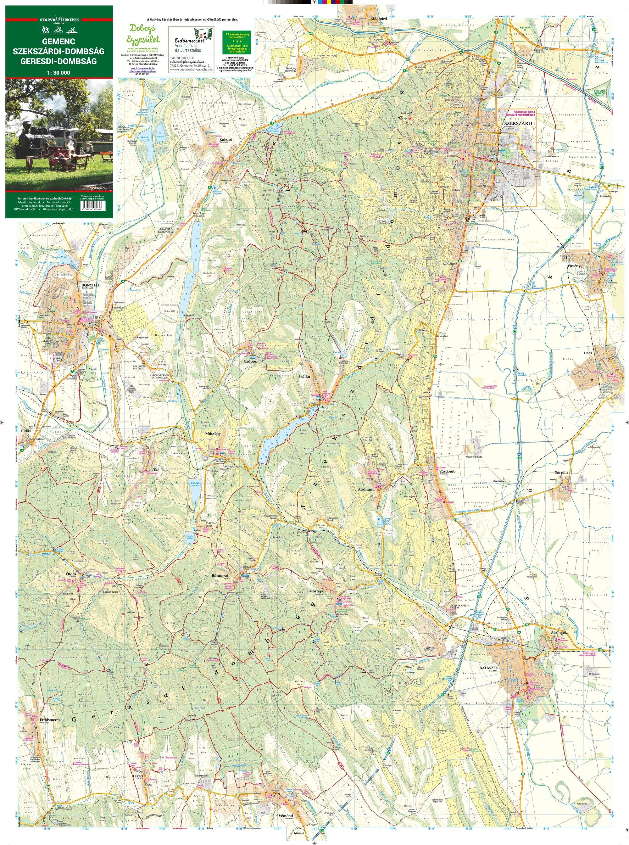 A Szekszárdi-d. és a Geresdi-d. térkép által lefedett terület