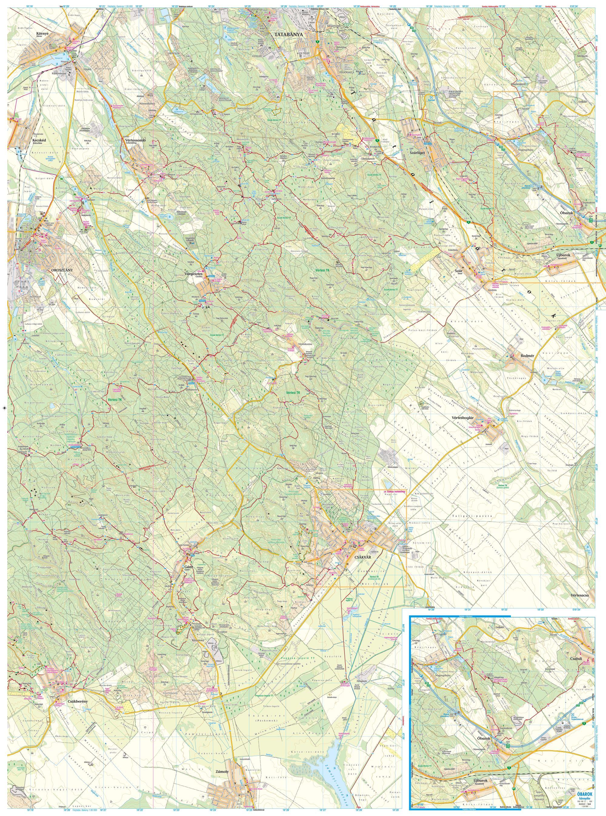 A Vértes térkép hátoldala